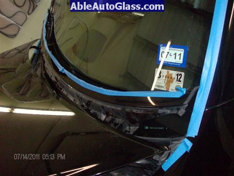 Acura RL 2005-2008 Windshield Replaced - view of decorative cover removed