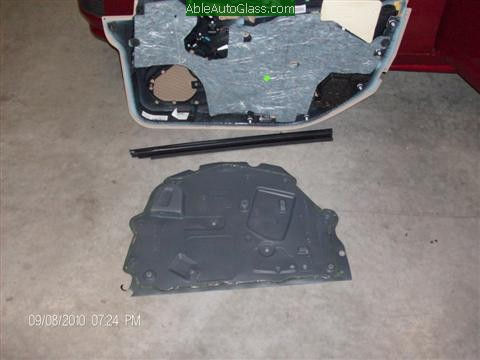 Cadillac CTS 2010 Front Door Replacement View of Outer Door Panel Weather Barrier and Door Seal