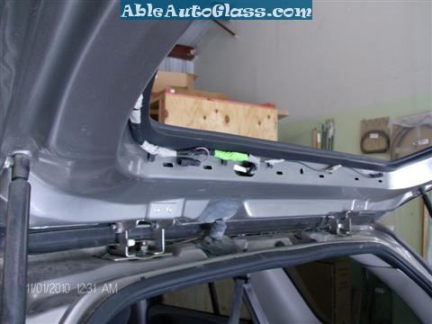 Chevy Trailblazer Back Glass Replacement - View of Underneath the Molding