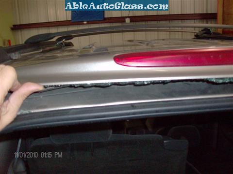 Chevy Trailblazer Back Glass Replacement -View of Spoiler and Break Light