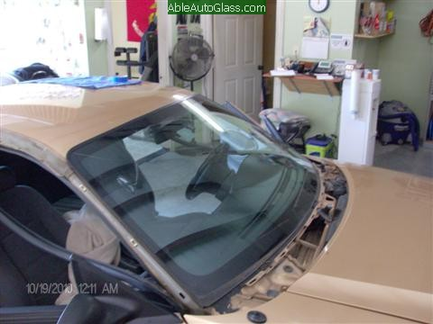 Ford Mustang 2000 Front Windshield Replacement Looking From Side