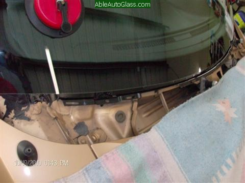 Ford Mustang 2000 Front Windshield Replacement - Nice and Clean Set with Cowl Removed