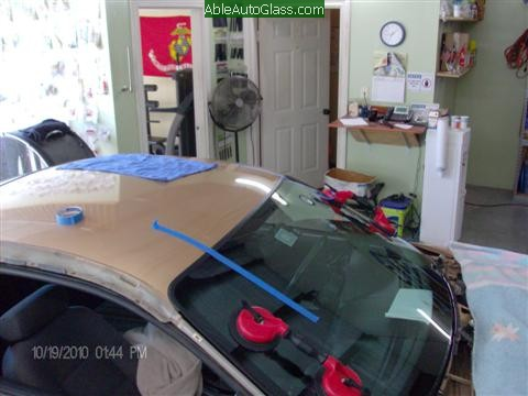 Ford Mustang 2000 Front Windshield Replacement - Side View Installed