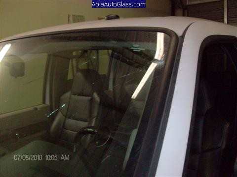 Ford Super Duty Truck 2008-2011 Front Windshield Replacement - Crack in Drivers Field of Vision