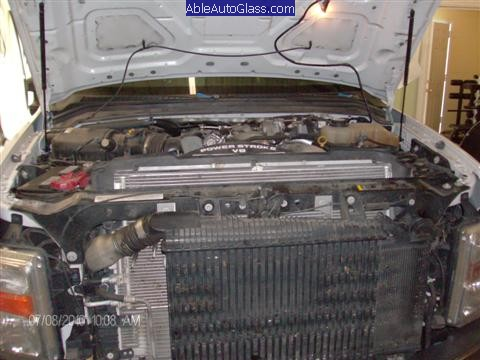 Ford Super Duty Truck 2008-2011 Front Windshield Replacement - View Under Hood