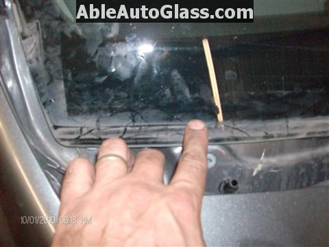 Honda Accord 2010 Front Windshield Replacement - Pointing to Where Cowl Fits Above Windshield