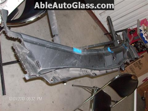 Honda Accord 2010 Front Windshield Replacement - Top View of Cowl