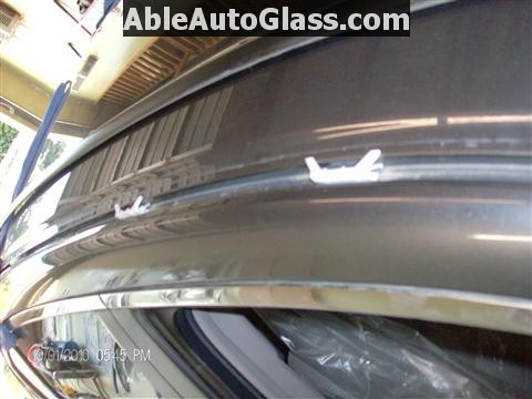 Honda Accord 2010 Front Windshield Replacement - View of White Clips Along Roof