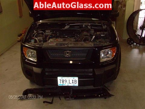 Honda Element 2010 Windshield Replace - Cowl and Windshield Wipers Removed