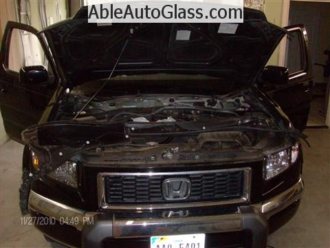 Honda Ridgeline Windshield Replace - Cowl and Wipers Removed 2