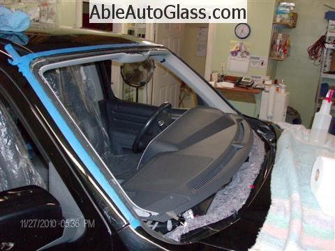 Honda Ridgeline Windshield Replace - Windshield Removed