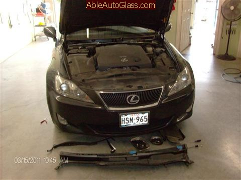 Lexus IS 250 2008 Windshield Replace - wipers and cowl removed