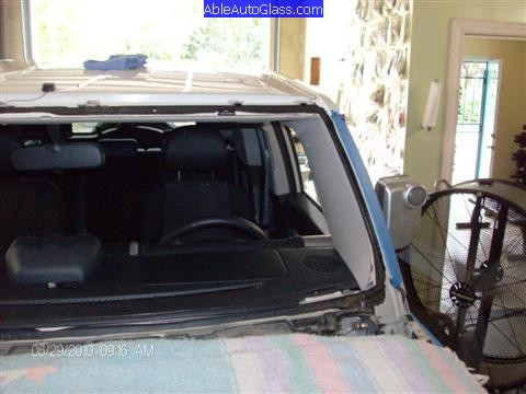 Toyota FJ Cruiser 07-10 Windshield Replacement View From Other Side After Priming