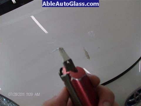 Toyota Prius 2010-2011 Windshield Replaced - view of paint protector blade