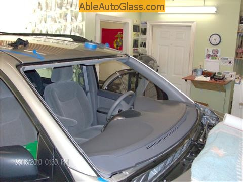 Toyota Sienna Windshield Replace -cleaned, trimmed and primed