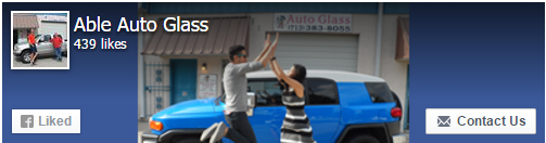 Facebook.com AbleAutoGlass in Houston, TX offer windshield replacement and windshield repair on car automobile glass, truck automobile glass and van automobile glass.  We no longer offer mobile service as all work is performed in our auto glass shop in Houston, TX.  Some of our clients like to take photos with their car & trucks after they've have'd windshield replaced, windshield repaired or other auto glass work performed at our auto glass shop in Houston, TX