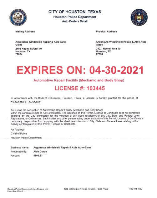 City Of Houston Tx License Arf Able Auto Glass In Houston Tx 2020 2021